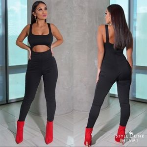 Black Sleeveless Cut Out Pant Jumpsuit